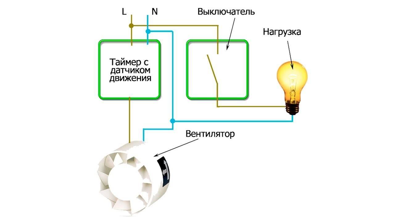 Как подключить вентилятор в ванной к выключателю: лампочке, схема