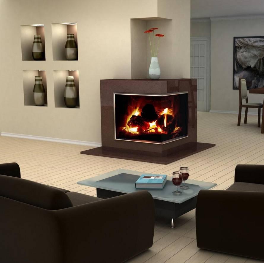 Камины в интерьере гостиной — фото в городской квартире
