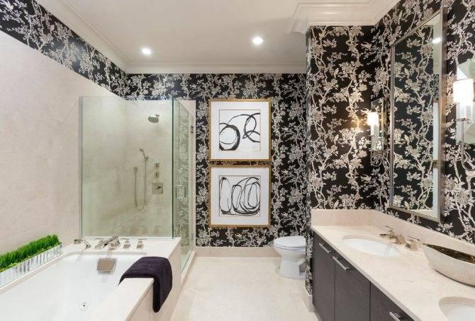 Обои для ванной комнаты (59 фото): водостойкие, моющие для стен, влагостойкие стеклообои, каталог, видео