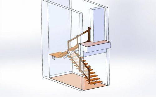 3d расчет металлической лестницы с поворотом 180 градусов с тетивой зигзаг