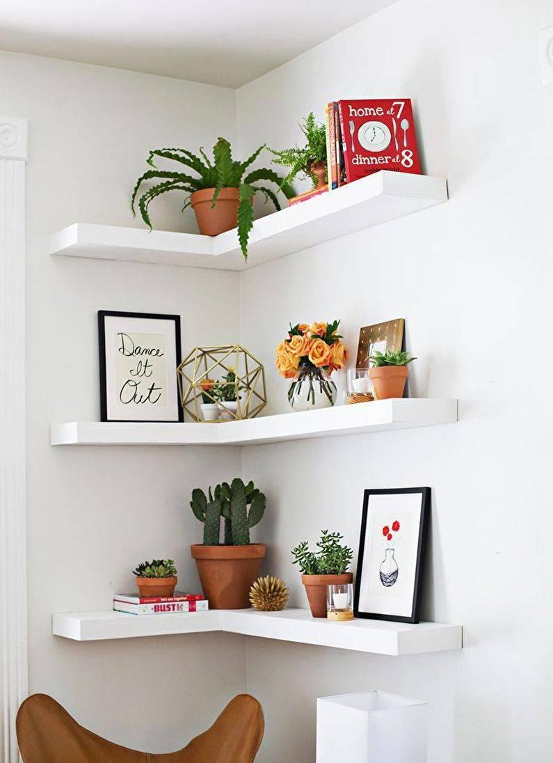 Открытые настенные полки: 100 фото лучших идей оформления комнат
