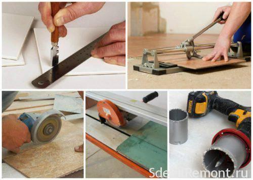 Чем резать плитку для пола резка напольной плитки, как разрезать, отрезать в домашних условиях керамическую плитку плиткорезом, чем пилить, фото и видео