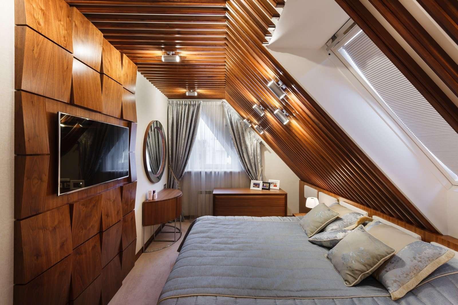 Спальня в мансарде, планировка, идеи дизайна интерьера и отделка обоями