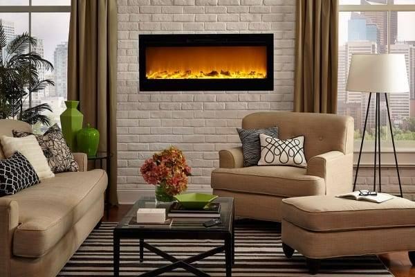 Имитация камина в интерьере гостиной комнаты, оригинальный дизайн