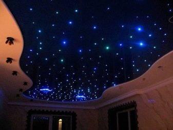 Натяжной потолок «звездное небо» в интерьере