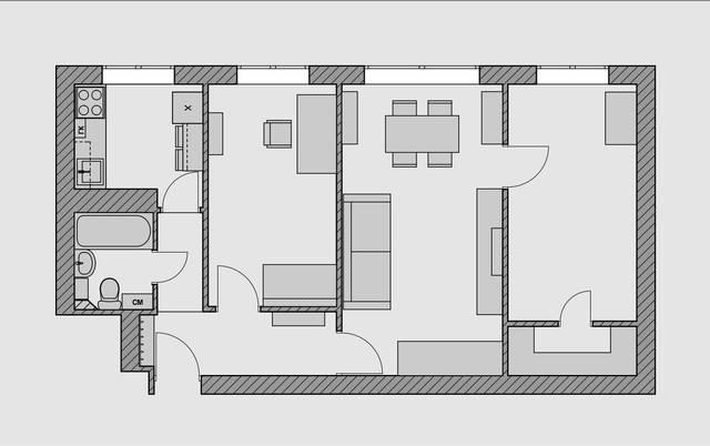 Перепланировка 3 х комнатной квартиры хрущевки в кирпичном и панельном доме. варианты передела трехкомнатной кв серии п 3, п 44, п44т, ii 49 в двухкомнатную и четырехкомнатнуюсвоё