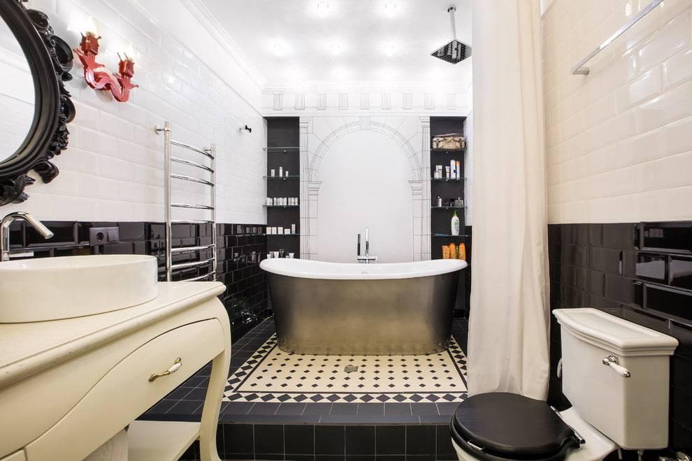 Черно-белые ванные комнаты: фото и особенности дизайна, как выложить плитку