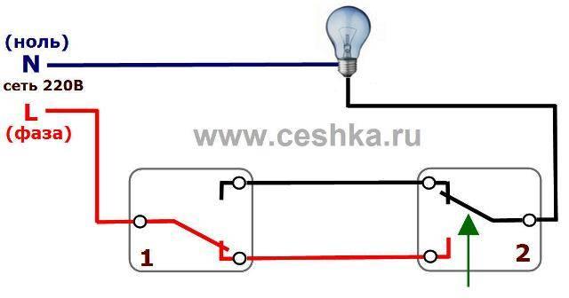Схема проходного выключателя с двух мест: пошаговый монтаж