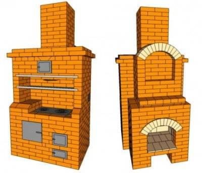 Печь-камин с плитой, рассматриваем кирпичные и чугунные варианты
