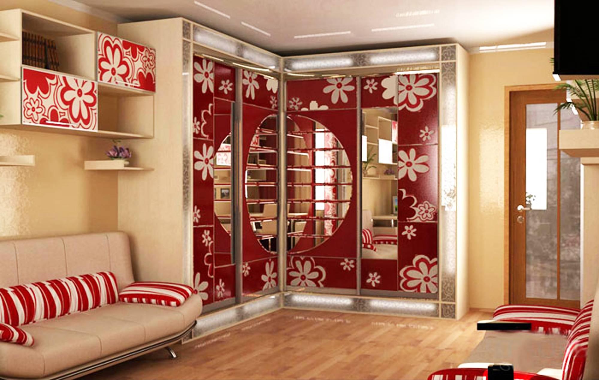 Шкаф в интерьере гостиной