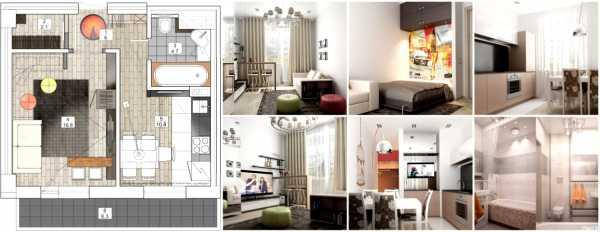 Дизайн однокомнатной квартиры 35 кв. м. - 120 фото в интерьере современной квартиры