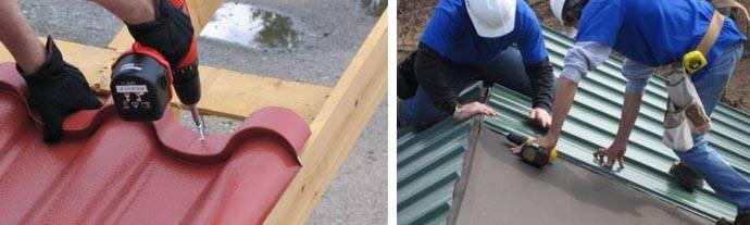 Крепление профнастила на крыше саморезами к обрешетке: схема, уклон, технология