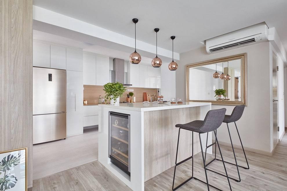 Зеркало на кухне (55 фото): особенности выбора и использования зеркальной плитки и панно на стенах и потолке на кухне, примеры красивого оформления интерьера