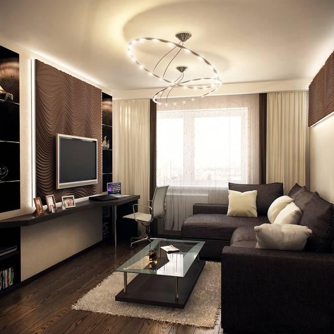 Дизайн длинной узкой гостиной в современном стиле с фото