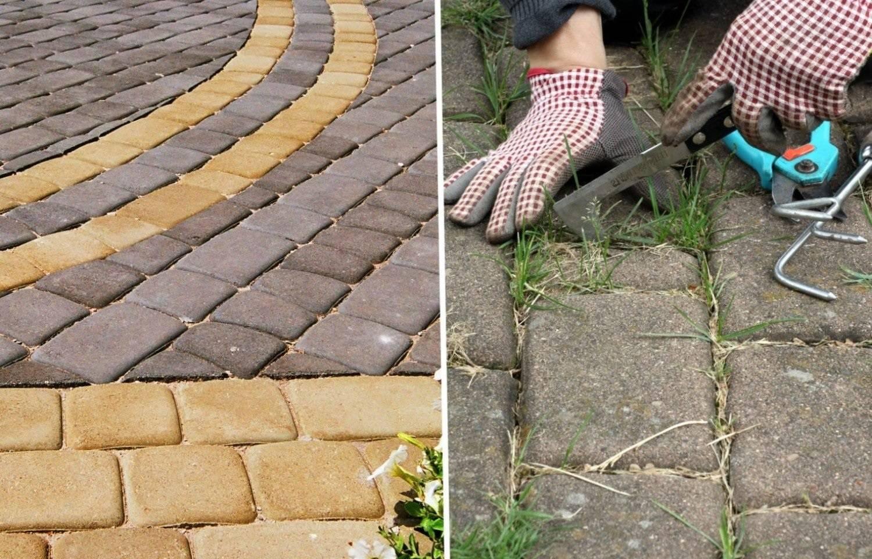 Как избавиться от травы между тротуарной плиткой?