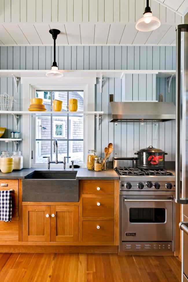 Кухня без верхних шкафов - дизайн одноярусной кухни | фото