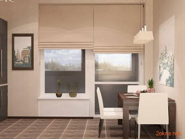 Рулонные шторы на балконную дверь (23 фото): жалюзи из пвх в дверной проем вместо двери