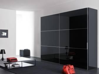Глянцевые шкафы: черный шкаф с распашными дверями в спальню, прихожую, угловой вариант, фасады, навесные изделия
