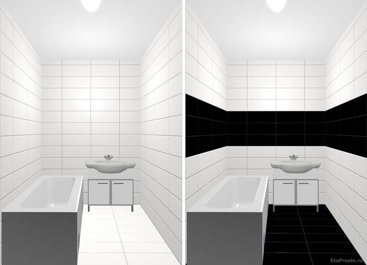 Черно-белая напольная плитка в интерьере