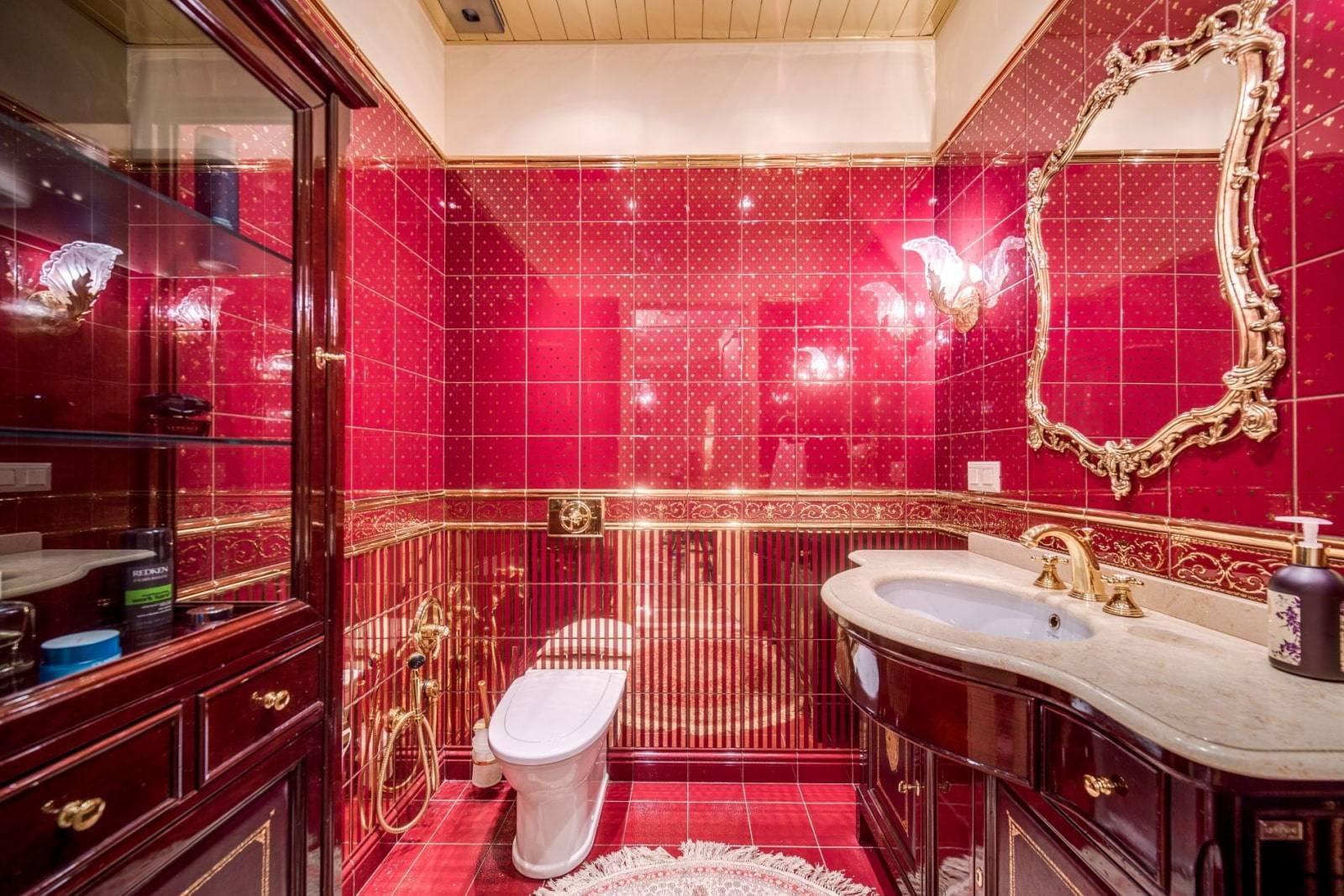 Бордовая ванная - 100 фото и советы специалистов для гармоничного подбора оформления ванной