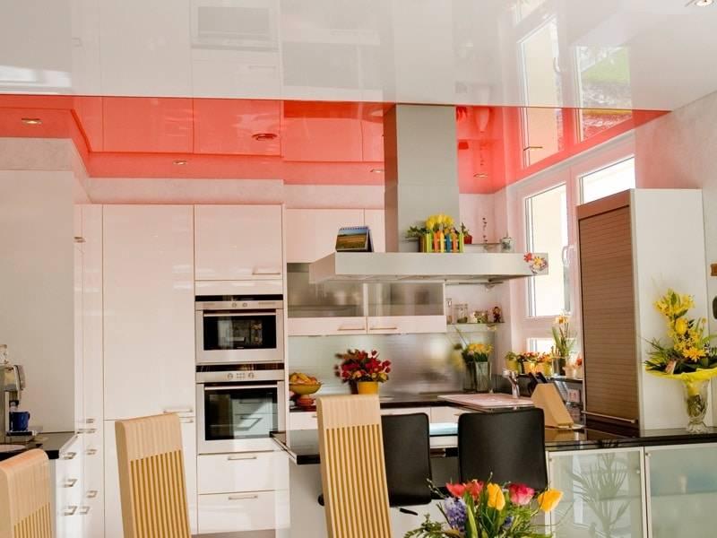 Натяжные потолки на кухне (100 фото)