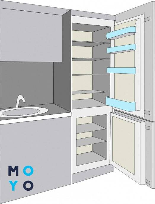 Встроенный холодильник — это красиво и весьма удобно