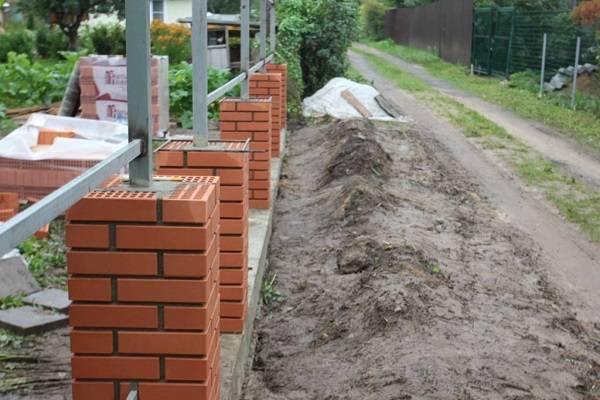 Фундамент под забор с кирпичными столбами - всё о воротах и заборе