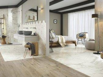 Белый и черный мрамор в интерьере ванной и кухни, декоративные предметы и изделия