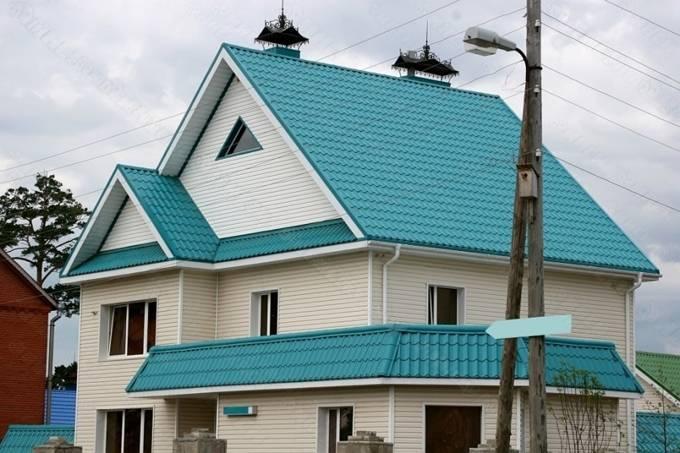 Коричневая металлочерепица: 100 фото крыш частных домов