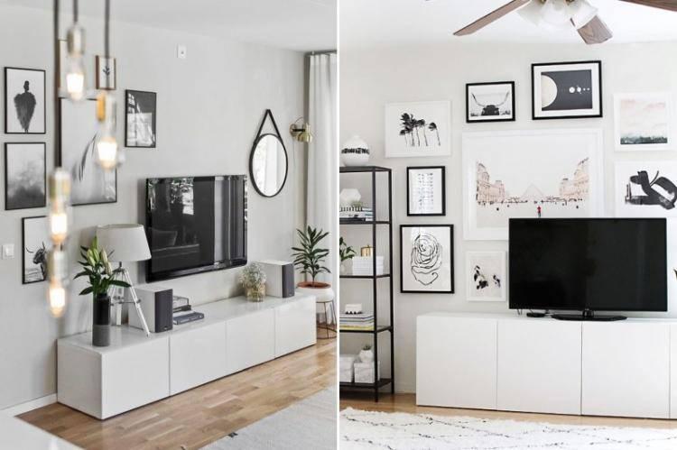 Телевизор на стене: 70+ фото в интерьере, дизайнерские идеи оформления