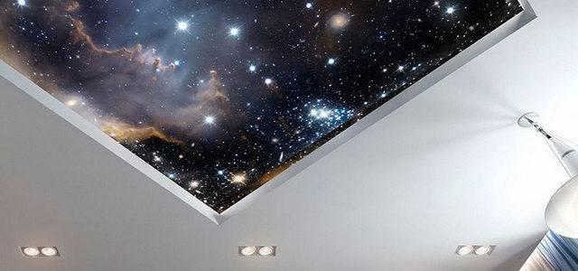 Натяжные потолки со светящимися в темноте звездами