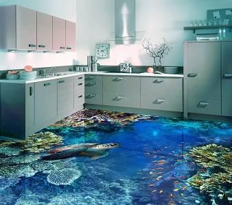 3d элементы в интерьере кухни -