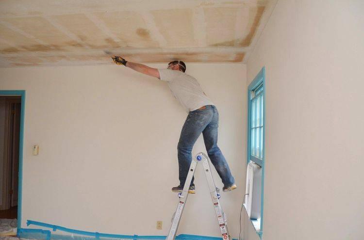 Шпатлевка потолка — технология