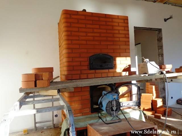 Камин-печь с плитой (40 фото): порядовка установки огнеупорных облицовочных плит, камины-печи с духовкой нарва и байкал