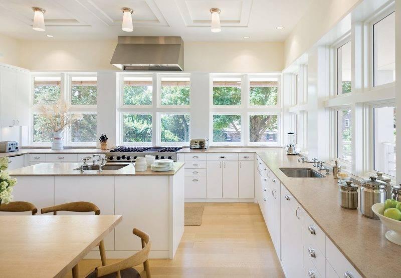 Кухня без верхних навесных шкафов: 75 идей дизайна и планировки