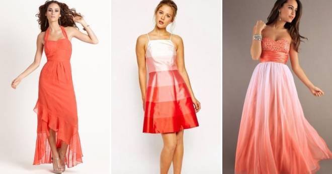 Коралловое платье: с чем носить (много фото)?