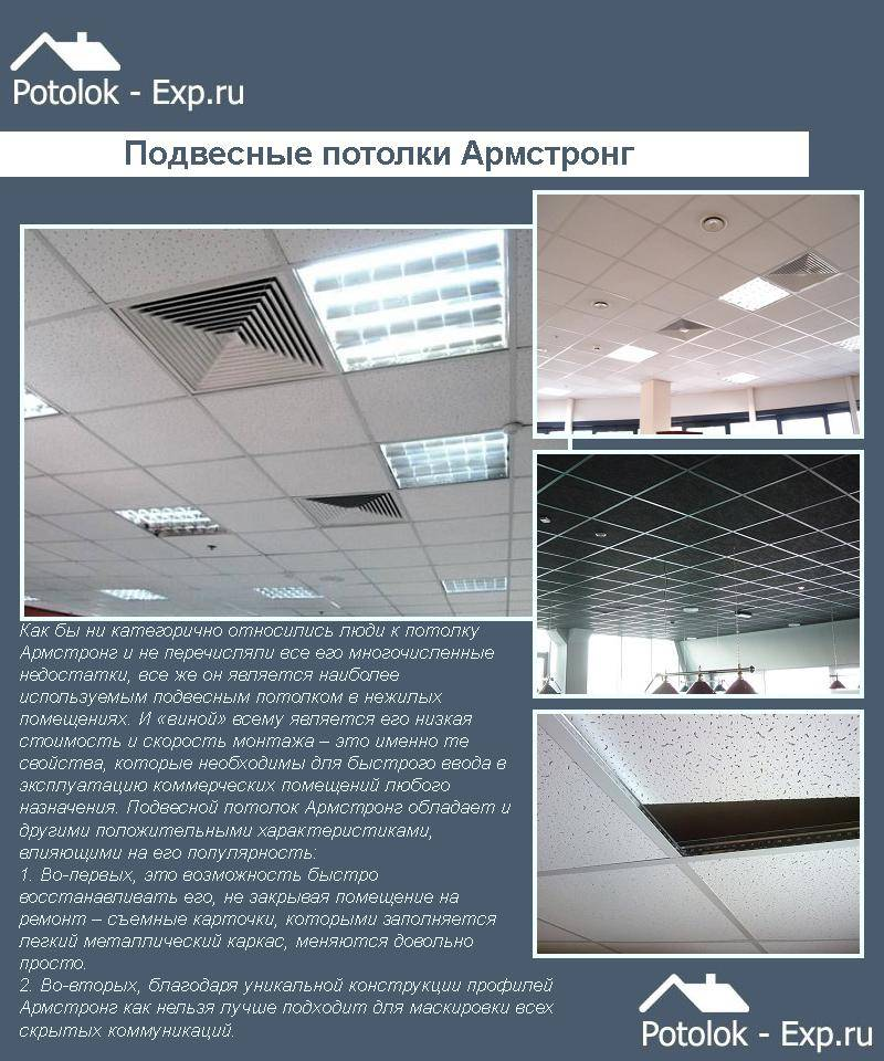 Потолок армстронг («armstrong»): виды, комплектующие, технология  монтажа