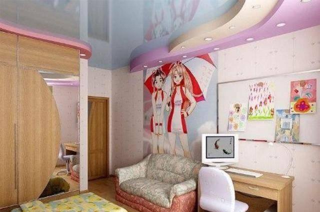 Потолки в детской комнате своими руками: дизайн для мальчиков и девочек, натяжной голубой и цветной, отделка для подростка