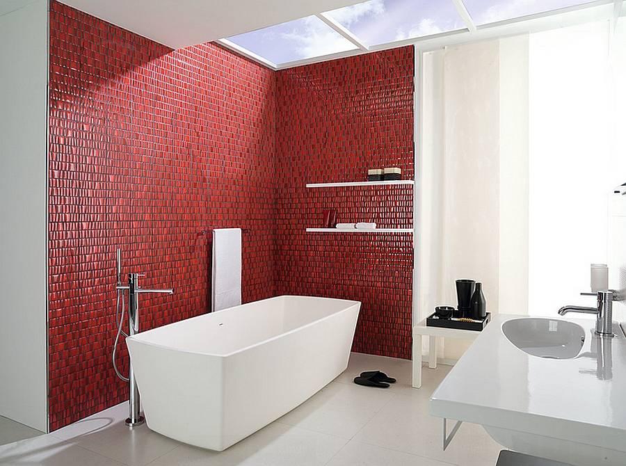 Красная ванная — 120 фото лучших идей дизайна и советы по подбору сочетаний. особенности интерьерных решений для красных ванных комнат