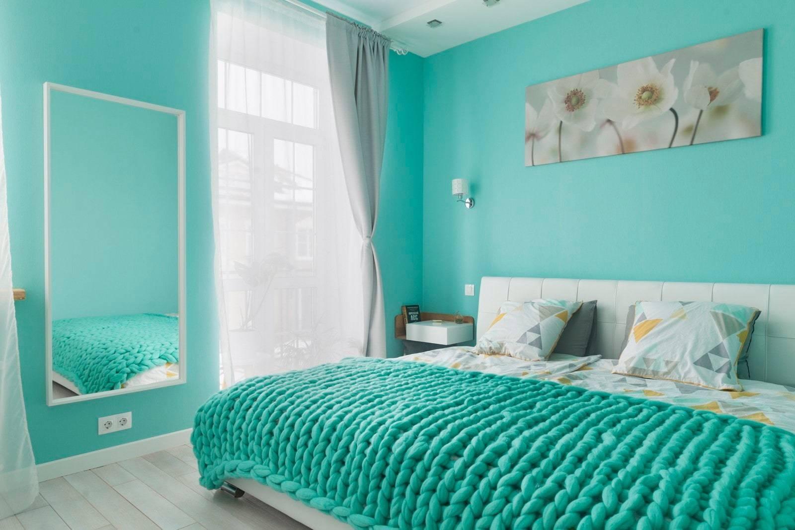 Спальня в бирюзовых тонах: интерьер, дизайн, фото