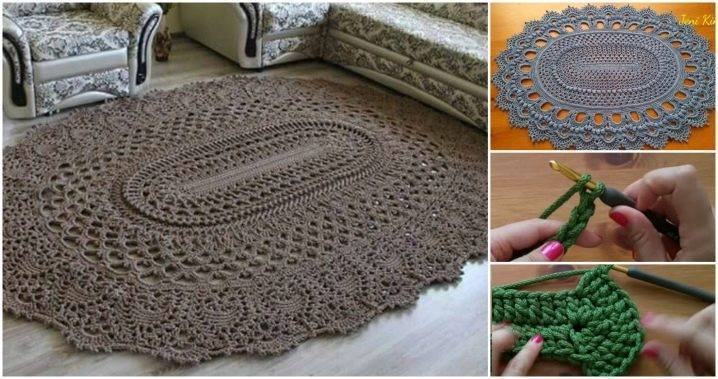 Вязание крючком ковриков со схемами и описанием: 90 фото примеров с пошаговыми инструкциями