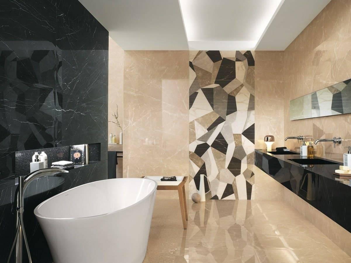 Глянцевая напольная плитка (28 фото): черный и светлый пол в интерьере, отзывы об использовании
