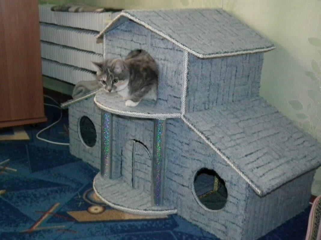 Кошкин дом своими руками – от подручных средств до сложных конструкций