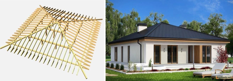 Четырехскатная крыша - стропильная система шатровая для дома и дачи
