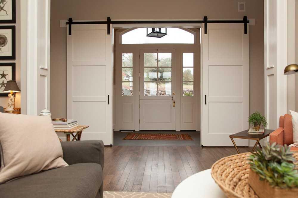 Двери в зал (46 фото): межкомнатные двойные и двустворчатые конструкции для проходной комнаты с тремя дверями, размеры для гостиной
