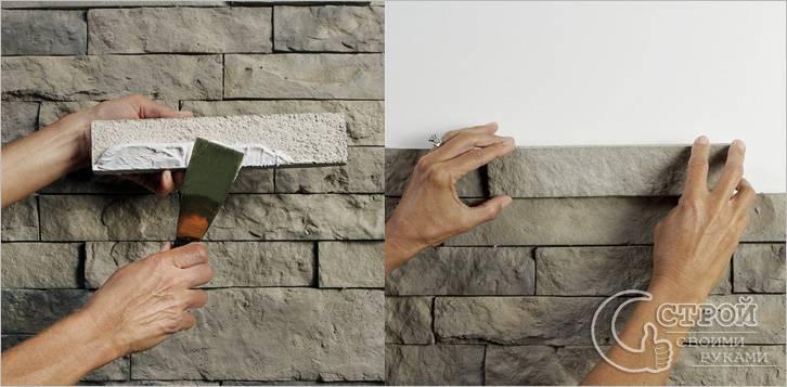 На что клеить декоративный камень: виды клея и технология
