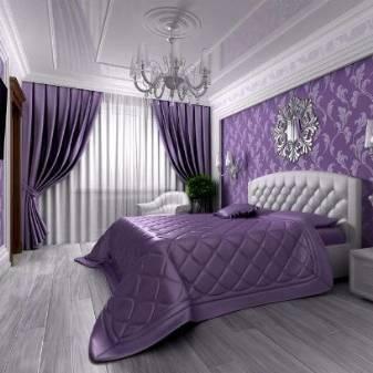Особенности оформления спальни в сиреневых и фиолетовых тонах
