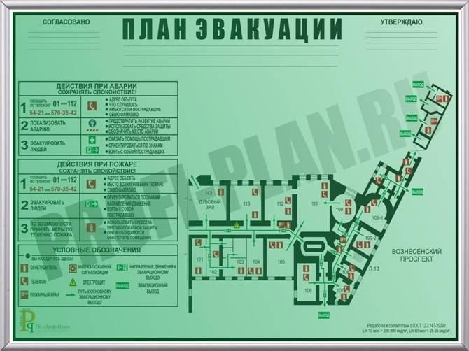 План эвакуации при пожаре: образец схемы и требования по госту, кто утверждает и делает