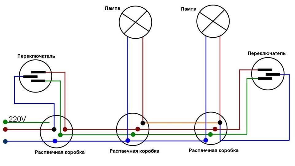 Схема подключения проходного выключателя с 2-х, 3-х и 4-х мест