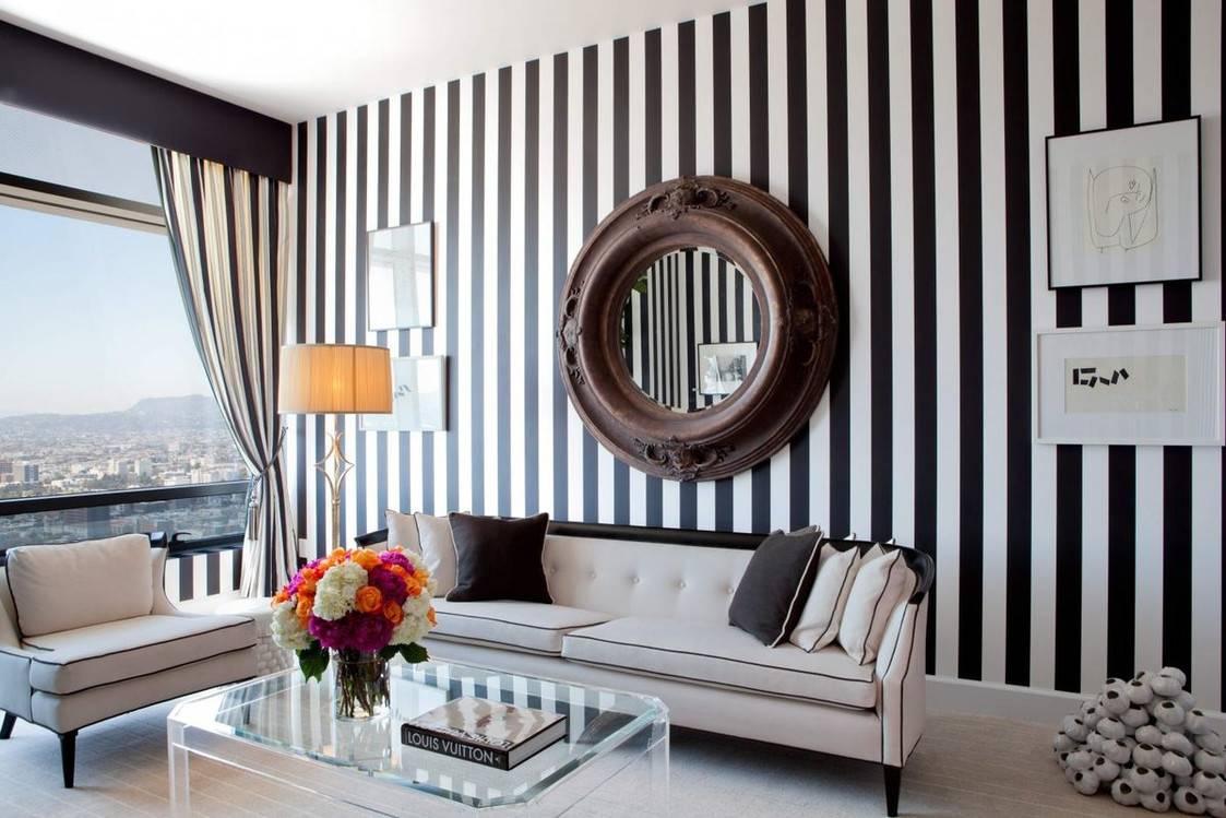 Полосатые стены в интерьере: в ритме цвета и размеров   домфронт